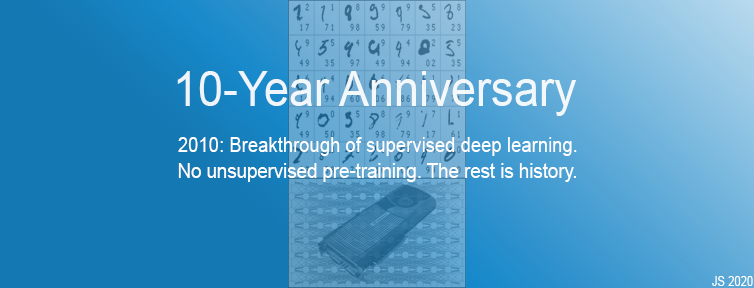2010: Breakthrough of supervised deep learning. No unsupervised pre-training. The rest is history.