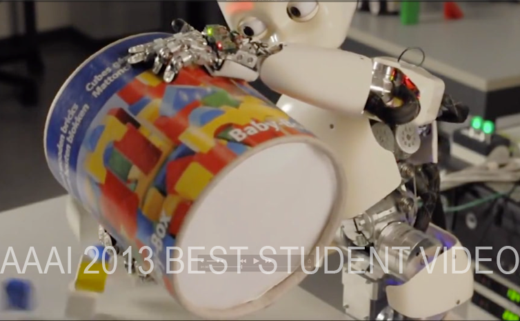 AAAI 2013 Best Student Video Award for IDSIA's video on roadmap planning for an iCub humanoid robot - M Stollenga & K Frank & J Leitner & L Pape & A Foerster & J Koutnik in the group of J Schmidhuber